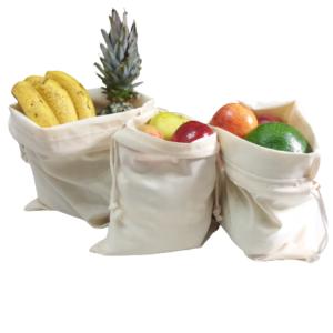 Kit com 3 saquinhos em Algodão, para compras a granel